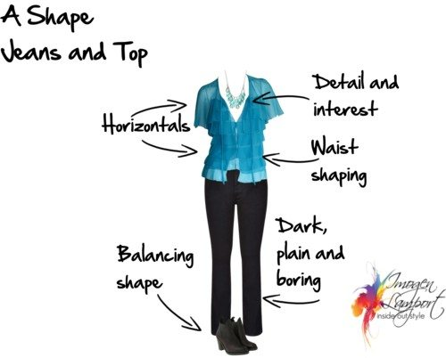 A shape jeans and top