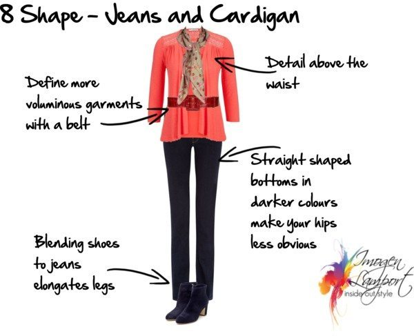 8 shape jeans and a cardigan