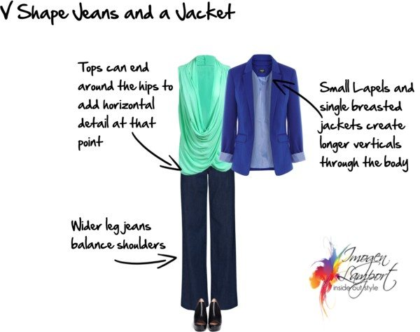 V shape jeans and jacket